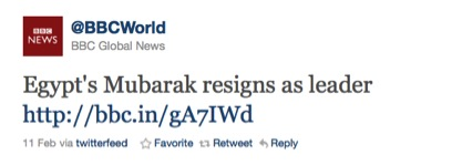 mubarak steps down tweet